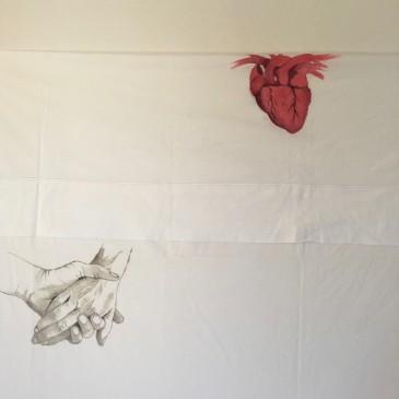 "Detalle de ""YOU MAY SAY I´M A DREAMER"" Acrílico sobre tela de sábana y lienzo. Exposición X ANIVERSARIO. GALERIA WEBER LUTGEN. SEVILLA"